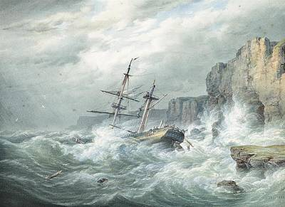 Stiff Painting -  A Stiff Onshore Breeze With A Dismasted Merchantman Foundering On The Rocks by MotionAge Designs
