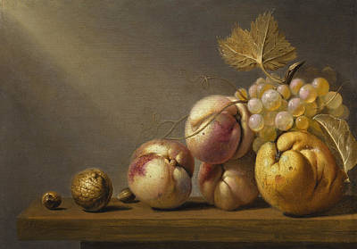 Painting - A Still Life Of A Quince, Grapes, Peaches, A Walnut, And Hazelnuts On A Wooden Ledge by Harmen van Steenwijck