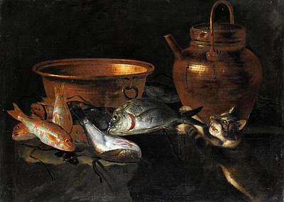 A Still Life Of A Fish Painting - A Still Life Of Fish With Copper Pans And A Cat  by Giuseppe Recco