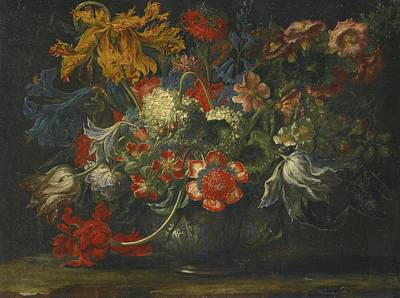 Painting - A Still Life Of Flowers In A Blue-and-white Porcelain Bowl by Celestial Images
