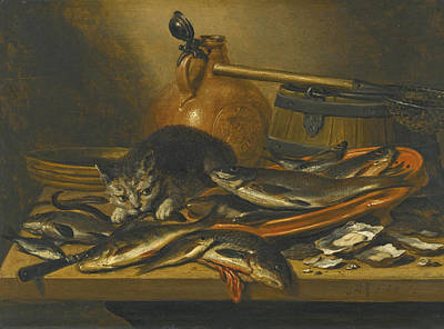 A Still Life Of A Fish Painting - A Still Life Of Fresh-water Fish With A Cat A Bartmannkrug A Barrel And A Small Fishing Net On A Tab by Pieter Claesz
