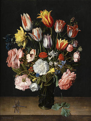 Still Life With Daffodils Painting - A Still Life Of Tulips, Roses, Bluebells, Daffodils, A Peony And Other Flowers In A Glass Roemer by Jacob van Hulsdonck