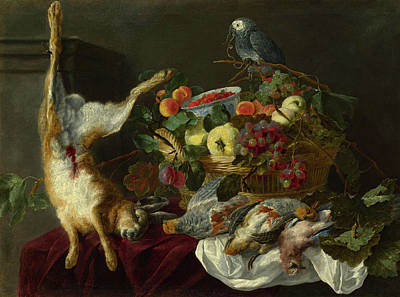 Carcass Painting - A Still Life With Fruit, Dead Game And A Parrot by Probably by Jan Fyt