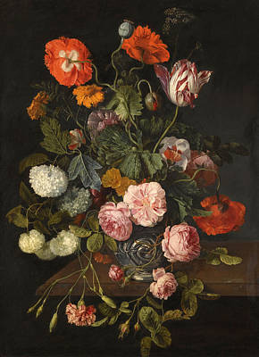 A Still Life With Parrot Tulips Poppies Roses Snow Balls And Other Flowers In A Glass Vase Over A St Art Print by Cornelis Kick