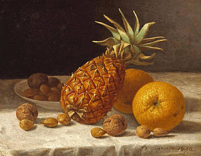 Painting - A Still Life With Pineapple Oranges And Nuts by John F Francis