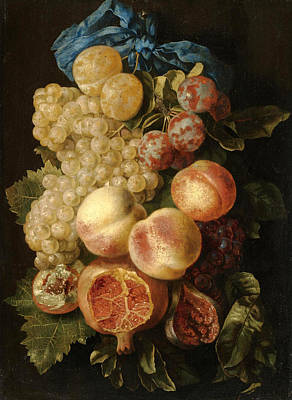 A Still Life With Plums Grapes Peaches And A Pomegranate Tied With A Blue Ribbon Art Print