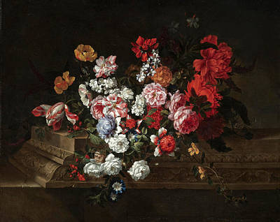 Painting - A Still Life With Roses Tulips Peonies Carnations And Other Flowers On A Sculpted Stone Ledge by Jean-Baptiste Belin