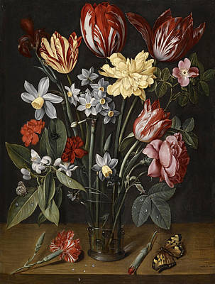 Still Life With Daffodils Painting - A Still Life With Tulips, Daffodils, Carnations And Other Flowers In A Vase by Jacob van Hulsdonck