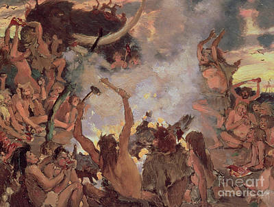 Woman Cave Painting - A Stone Age Feast by Victor Mikhailovich Vasnetsov