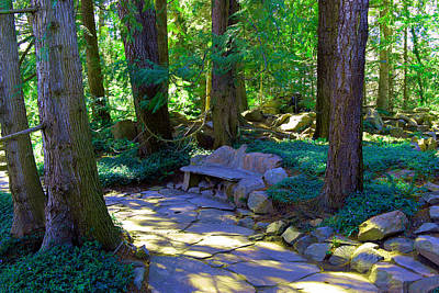 Hand Made Photograph - A Stone Bench by Jeff Swan