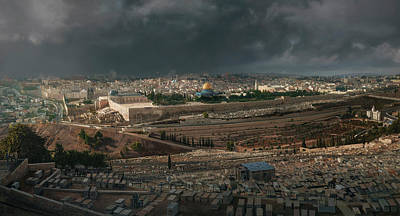 Muslims Of The World Painting - A Storm Over Jerusalem by TJ Mueller