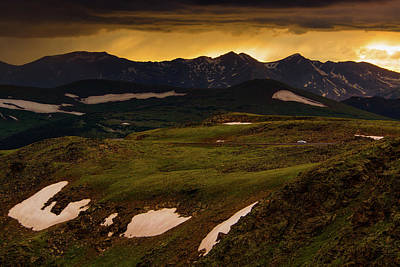 Print featuring the photograph A Stormy Alpine Sunset by John De Bord