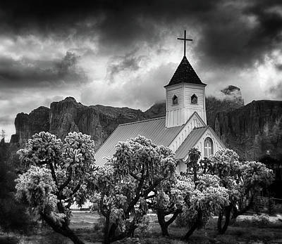 Photograph - A Stormy Desert Afternoon In Black And White  by Saija Lehtonen