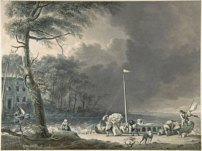 Drawing - A Stormy Scene With Figures Unloading Boats Near A House On The Water's Edge by Jacob Cats