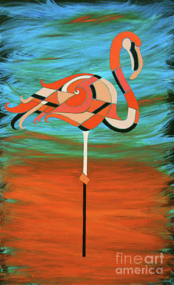 Painting - A Straight Up Flamingo by Barbara Rush