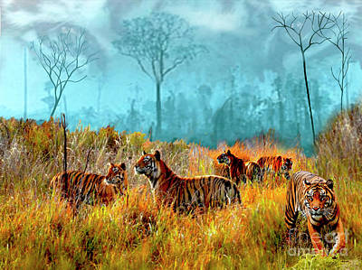 Digital Art - A Streak Of Tigers by Dale E Jackson