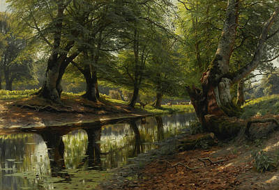 Painting - A Stream Through The Valley, Deer In The Distance by Peder Monsted
