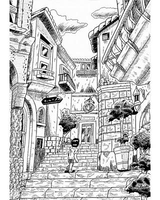 Drawing - A Street Corner In An European Town by Hisashi Saruta