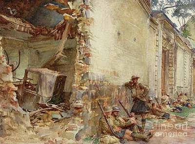 Trench Painting - A Street In Arras, Wwi by John Singer Sargent