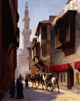 Camel Painting - A Street In Cairo by Jean Leon Gerome