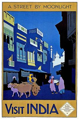 Royalty-Free and Rights-Managed Images - A street in India by moonlight - Vintage Travel Advertising Poster by Studio Grafiikka