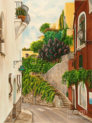 Alleyway Painting - A Street In Positano by Charlotte Blanchard
