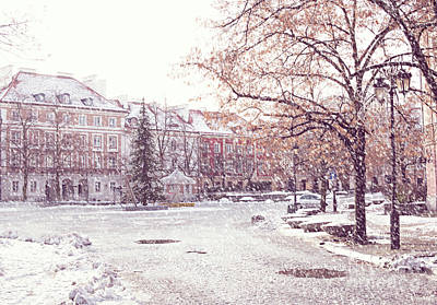 Photograph - A Street In Warsaw, Poland On A Snowy Day by Juli Scalzi