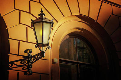 Shadows And Light Photograph - A Street Lamp In Lisbon Portugal  by Carol Japp