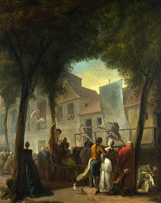 Painting - A Street Show In Paris by Gabriel de Saint-Aubin