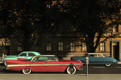 A Street With Oldtimers Art Print