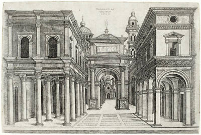 Drawing - A Street With Various Buildings, Colonnades And An Arch by Zoan Andrea