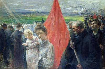 Children Action Painting - A Strike At Saint Ouen by Paul Louis Delance