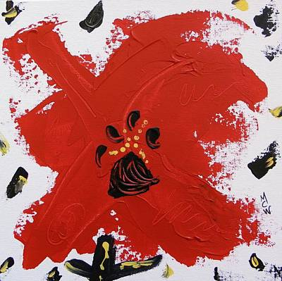 Outsider Art Painting - A Strike Of Red Poppy by Mary Carol Williams