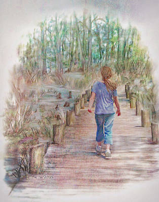 Digital Art - A Strole On The Boardwalk by Bonnie Willis