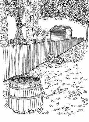 Reconstruction Drawing - A Stroll Along The Fence by Dawn Boyer