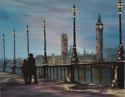 Painting - An Evening Stroll Along The Thames  by Jean Walker