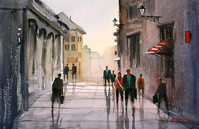 European Street Scene Painting - A Stroll In Italy by Ryan Radke