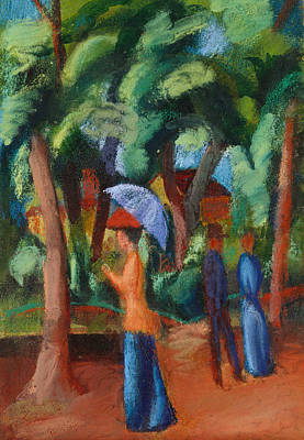 Gouache Abstract Painting - A Stroll In The Park by August Macke
