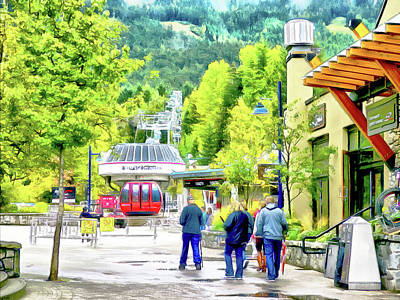 Digital Art - A Stroll Through Whistler Village - Blackcomb Gondola by Leslie Montgomery