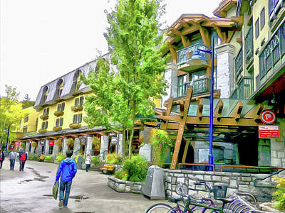 Digital Art - A Stroll Through Whistler Village - More Shops by Leslie Montgomery