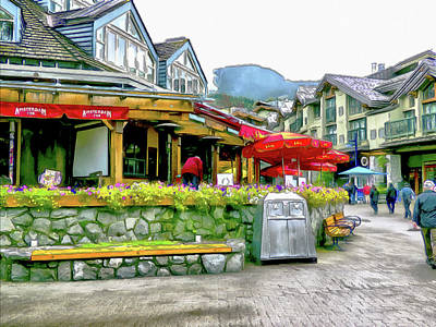Digital Art - A Stroll Through Whistler Village - Restaurants by Leslie Montgomery