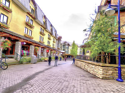 Digital Art - A Stroll Through Whistler Village - The Shops by Leslie Montgomery