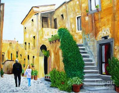 A Stroll With Papa In Italy Art Print by Nathan Rodholm