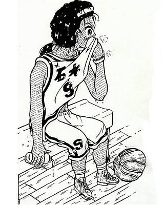 Sports Drawing - A Student Studying Abroad For Basketball by Hisashi Saruta