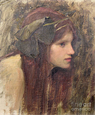 Female Portrait Painting - A Study For A Naiad by John William Waterhouse