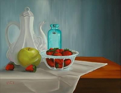 Teapot Painting - A Study In Strawberries by Barbara Auito