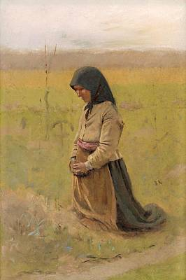 Painting - A Study Of A Kneeling Woman, Ladislav Mednyanszky Ca 1895 by Vintage Printery