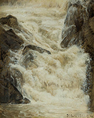 Painting - A Study Of A Waterfall In Sweden by Janus la Cour