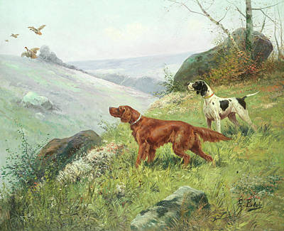 Sniffing Painting - A Study Of Gun Dogs by Eugene Petit