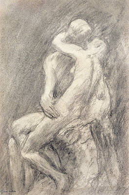 The Kiss Drawing - A Study Of Rodin's Kiss In His Studio by Gwen John